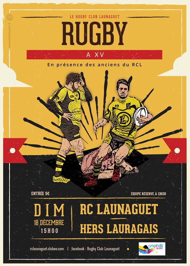 affiches rugby club launaguet 2016 2017 elsa boudon. Black Bedroom Furniture Sets. Home Design Ideas