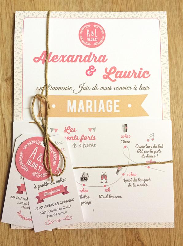 Faire-part  mariage alex lauric